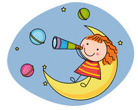 Girl and moon stock illustration