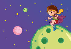 Girl on the moon Stock Images