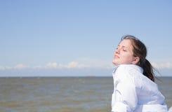 Girl on mooring Stock Photography