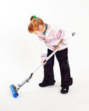 Girl with mop. A little girl with mop stock photos