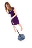 Girl with mop Royalty Free Stock Photo
