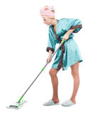 Girl with a mop Royalty Free Stock Photo