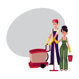 Girl with mop and bucket, man using floor cleaning machine Royalty Free Stock Images