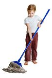 Girl with a mop Royalty Free Stock Photography