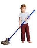 Girl with a mop stock photos