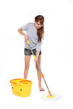 Girl mopping Royalty Free Stock Photography