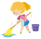 Girl mopping the wet floor Stock Images