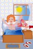 Girl morning. Breakfast at the bed to the redhead girl Stock Photography