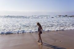 Girl Morning Beach Swim Stock Photo