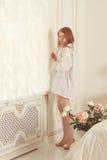 Girl . the morning in bedroom Stock Photo