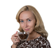 Girl with morning coffee Royalty Free Stock Photo
