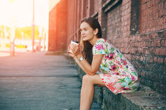 Girl with morning coffee Stock Image