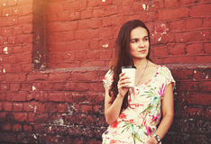 Girl with morning coffee Stock Photography