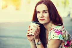 Girl with morning coffee Stock Photos