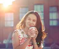 Girl with morning coffee Royalty Free Stock Image