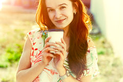 Girl with morning coffee Royalty Free Stock Photography