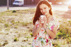 Girl with morning coffee stock photo