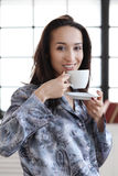 Girl in the morning. Woman with cup of coffee Royalty Free Stock Images