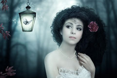 Girl and Moth Royalty Free Stock Image