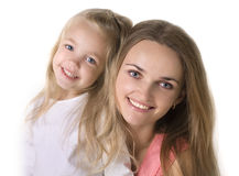 Girl with a mother Royalty Free Stock Images