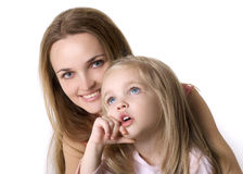 Girl with a mother Stock Photos