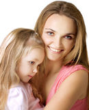 Girl with a mother stock photo