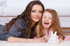 Girl, mother, bunny Royalty Free Stock Image