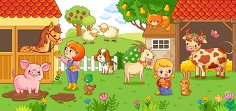 The girl and mother on the farm. The girl and mother on the farm look after the animals. Vector illustration with animals in cartoon style Stock Photo