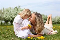 Girl with mother in the park Stock Photo