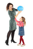 Girl and mother playing with balloon isolated Stock Images