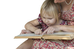 Girl with mother reading a book on white background Stock Image