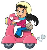Girl on motor scooter theme image 1 Stock Images