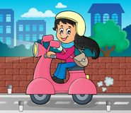 Girl on motor scooter theme image 2 Stock Photography