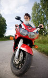 Girl with motorbike Stock Photo