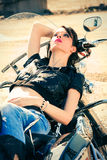 Girl on motorbike Royalty Free Stock Photography