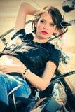 Girl on motorbike Royalty Free Stock Image