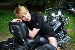 Girl and motorcycle Royalty Free Stock Photography