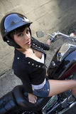 Cute Girl Wearing Shorts on Street Motorcycle stock photos