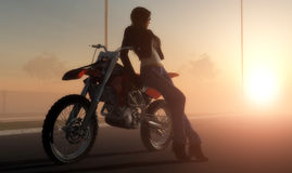 A girl and a motorcycle. On the road royalty free stock photos