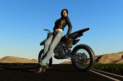 A girl and a motorcycle Stock Image