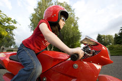 Girl on Motorcycle Royalty Free Stock Photo