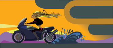 Girl on a motorcycle. Vector image of girl on a motorcycle on a highway Stock Photography