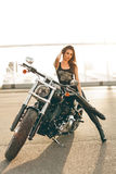 Girl on a motorcycle Royalty Free Stock Photography