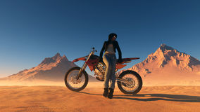 A girl and a motorcycle Royalty Free Stock Photo