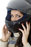 Girl in a motorcycle helmet Royalty Free Stock Image