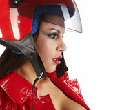 Girl with a motorcycle helmet Stock Photo