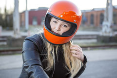Girl With Motorcycle Helmet Royalty Free Stock Image