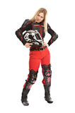 Girl - motorcycle rider helmet off Royalty Free Stock Photography