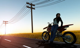 A girl and a motorcycle Royalty Free Stock Photos