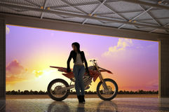 A girl and a motorcycle Stock Photography